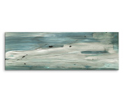 Panoramic Wall Image XXL 150 x 50 CM Abstract Art Canvas Wall Print Painted Blue / Grey / beige