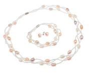 TreasureBay Elegant Natural Freshwater Pearl Necklace, Bracelet & Earrings , pearl jewellery set - Presented in a Beautiful Jewellery gift Box