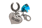 Handmade Something Blue Clip on Charm with Bride and Lucky Horse Shoe Charm in Blue Gift Bag by Libby's Market Place