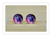 Doctor Who POLICE BOX Earrings Dr Who Tardis Earrings jewellery glass Cabochon Earrings