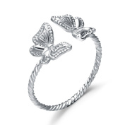 Chaomingzhen 925 Sterling Silver White Gold Plated Butterfly Opening Ring for Women Adjustable Size