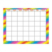 Reusable / Wipe-Off, Tie Dye / Rainbow Monthly Wall Calendar / Diary