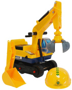 2 in 1 Childrens Ride On Excavator Digger Tractor & Safety Hat