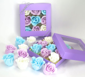 Rose Bath Bombs, nine colourful Rose flower with purple gift Box, for mom's birthday gifts, girls birthday gift. purple box