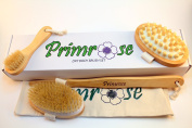 PRIMROSE Dry Body Brushing Set - Long Handle Body Brush with Face Brush and Cellulite Massager- All Natural Made of Boar Bristle - WITH Storage Bag
