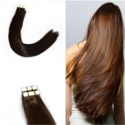 HairDancing Straight Tape In Remy Human Hair Extensions 100% Real Human Hair Pu Skin Weft #4 Chocolates Brown Colour 41cm