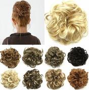 FESHFEN Scrunchy Scrunchie Bun Updo Hairpiece Hair Ribbon Ponytail Extensions Drawstring Hair Extension Strawberry Blonde & Bleach Blond Mixed Scrunchie Hairpiece