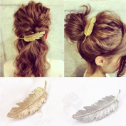 Bhbuy 2pcs Women Girl Vintage Hair Clip Pin Claw Barrettes Accessories with Leaf Design Punk