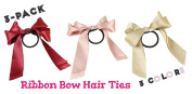 Ribbon Bow Hair Ties, 3 PACK | Elastic Hair Ties with Large, Silky Ribbon Bows, Perfect for Adding . and Colourful Elegance to Ponytails and Other Hairstyles