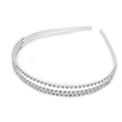 Trimming Shop Women's Plated Crystal Wedding Bridal Diamante Headband One Size Silver