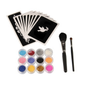 Beauty7 Glitter Tattoo Body Art Stencil Kit Party Temporary Face Painting With 12 Large Glitter Colours, 10 Uniquely Themed Temporary Stencils, 2 Glitter Brushes for kids Teenager Adult