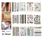 Fun of Jewellery Metallic Golden and Silver Temporary Tattoo Fake Tattoo Waterproof Non-toxic Tattoo Stickers Assorted Set of 11 Pcs 160+ Designs