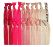 """Hair Ties Ponytail Holders - 20 Pack """"Pink Ombre"""" No Crease Ouchless Elastic Styling Accessories Pony Tail Elastics Holder Ribbon Bands - By Kenz Laurenz"""