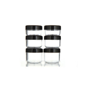 Yueton® 6Pcs Empty Clear Boday Black Top Lid Plastic Sample Containers 10/15/20Gram Size Cosmetic Containers Pot Jars Eyshadow Container Lot