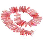 SUNYIK Light Red Crystal Points Titanium Coated Quartz Rough Sticks Spikes Point Beads 38cm Strand Drilled