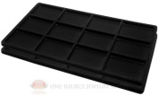 2 Black Insert Tray Liners W/ 12 Compartments Drawer Organiser Jewellery Displays