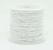 WHITE 0.8mm Nylon Coated Round Elastic Cord Stretch Beading Mala String