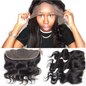 Youth Beauty® Brazilian Virgin Human Hair Body Wave Free Part Lace Frontal Closure Bleached Knots 33cm x 10cm Full Lace Frontal Piece 30cm