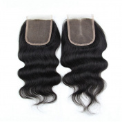 Miss Kiss Remy Hair Body Wave Lace Closure Brazilian Human Hair Free Part 10cm x 10cm Swiss Closure with Baby Hair Bleached Knots Unprocessed Virgin Hair Natural Colour 25cm