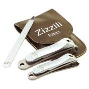 Nail Clippers by Zizzili Basics - 3 Piece Nail Clipper Set - Stainless Steel Fingernail & Toenail Clippers with Nail File and Brown Carry Case - Best Nail Care for Manicure, Pedicure, Home & Travel