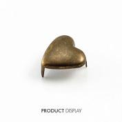 200pcs Antique Bronze Heart 3 Studs Prong Spike Spot Tack Nailhead Rivets 14x7mm Garment Sew On Cloth Bag Sewing Supplies K226