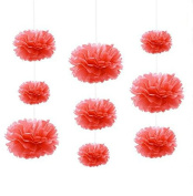 Sorive® 9pcs 20cm/25cm/35cm Coral Colours Mixed Size Tissue Paper Pom Poms Wedding Birthday Party Event Decoration Hanging Flowers