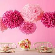 Sorive® Pack of 20 Tissue Paper Flowers Pom Poms Wedding Decor Party Decor Pom Pom Flowers Pom Poms Craft Pom Poms Decoration