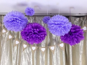 Sorive® Pack of 6pcs 20cm and 36cm Mixed Size Light Purple and Purple Tissue Pom Poms Paper Flower Wedding Bridal Shower Party Fluffy Decoration SRI1902
