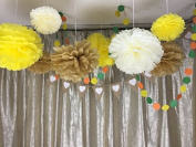 Sorive® Pack of 9pcs Mixed 20cm 25cm 36cm Ivory Yellow Coffee Tissue Paper Pom Poms Flower Wedding Party Baby Girl Room Nursery Decoration SRI1901