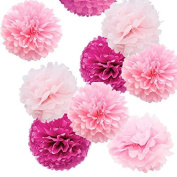 Sorive® Pack of 9pcs Mixed Sizes 20cm 25cm 36cm Party Crafts Tissue Paper Pom Poms Flowers Kit - Light Pink, Pink & Fuchsia SRI1887