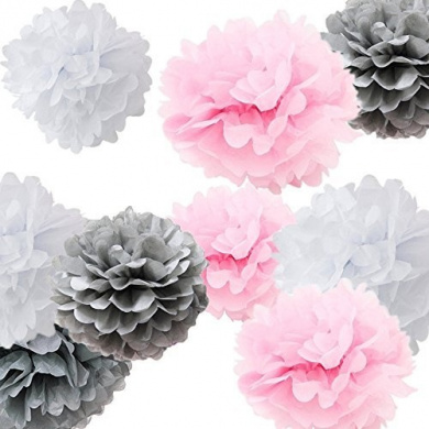 Sorive® 9pcs Mixed Sizes 20cm 25cm 36cm Tissue Paper Pom Poms Flower Wedding Party Baby Girl Room Nursery Decoration SRI1879 (White Pink Grey)