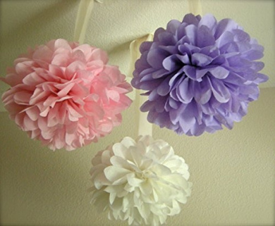 Sorive® 9pcs Mixed Sizes 20cm 25cm 36cm Tissue Paper Pom Poms Flower Wedding Party Baby Girl Room Nursery Decoration SRI1879 (White Pink Purple)