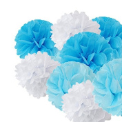 Sorive® Nautical Themed Anchor Party Decoration 9pcs 20cm 25cm 36cm White Blue Tissue Paper Flowers Kit for Weddings Party Decor, Birthday, Bridal, Baby Boy Blue Showers Nursery Décor