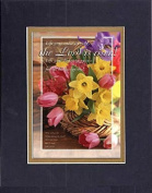 GoodOldSaying - Poem for Easter - The Lord is Risen - Luke 24:5-6 . . . on 8x10 Biblical Verse set in Double Mat (Black On Gold) - A Priceless Poetry Keepsake Collection