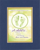 GoodOldSaying - Poem Baby Dedication - A child is a new life . . . on 8x10 Biblical Verse set in Double Mat (Blue On Gold) - A Priceless Poetry Keepsake Collection