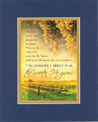 GoodOldSaying - Poem for Inspirations - The Longer I Serve Him (Gaither) . . . Poem on 8x10 Biblical Verse set in Double Bevelled Matting (Blue On Gold) - A Priceless Poetry Keepsake Collection