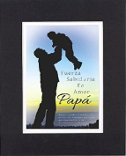 GoodOldSaying - Poem for Father's Day (In Spanish) - Strength, Wisdom, Faith (Exodus 20:12). . Poem on 8x10 Biblical Verse set in Double Mat (Black On White) - A Priceless Poetry Keepsake Collection
