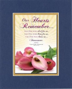 GoodOldSaying - Poem for Love & Marriage - Our Hearts Remember . . . Poem on 8x10 Biblical Verse set in Double Bevelled Matting (Blue On Gold) - A Poetry Keepsake Collection