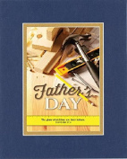 GoodOldSaying - Poem for Father's Day - Happy Father's Day (Proverbs 17:6) . . . Poem on 8x10 Biblical Verse set in Double Bevelled Matting (Blue On Gold) - A Priceless Poetry Keepsake Collection