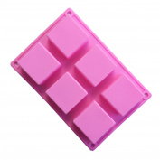 Always Your Chef 6-Cavity Silicone Square Soap Moulds, Square Premium Silicone Mould for Cupcake, Bread, Loaf, Muffin, Brownie, Cornbread, Cheesecake, Pudding, and More, Random Colours