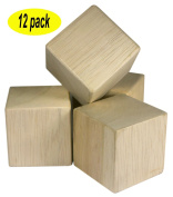 5.1cm Unfinished Craft Wood Blocks 12 Pieces By Nesha