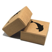 """2.6""""x2.6""""x1.2"""" (6.5*6.5*3cm) 10 Pieces Brown Kraft Paper Pack Boxes Gift Dolphin Hollow Out DIY Products Rings Pretty Watch Accessories Paperboard Boxes"""