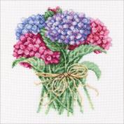 Hydrangea Bouquet Counted Cross Stitch Kit-20cm x 21cm 14 Count