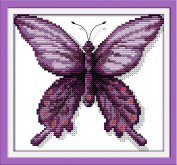 YEESAM ART® New Cross Stitch Kits Advanced Patterns for Beginners Kids Adults - Purple Butterfly 11 CT Stamped 24×22 cm - DIY Needlework Wedding Christmas Gifts