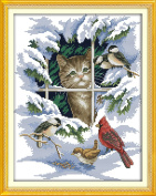 YEESAM ART® New Cross Stitch Kits Advanced Patterns for Beginners Kids Adults - Cat And Birds 11 CT Stamped 39×47 cm - DIY Needlework Wedding Christmas Gifts