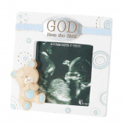Dicksons Baby Bear God Bless This Child Photo Frame for Boy, White