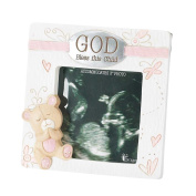 Dicksons Baby Bear God Bless This Child Photo Frame for Girl, White