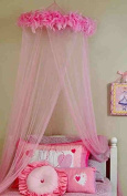 Feather Boa Mosquito Net Canopy for Twin/Full Size Bed, Darling Pink Canopy