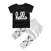 XUANOU 1Set Kids Boy Letter Printed T-shirt Tops+Pants
