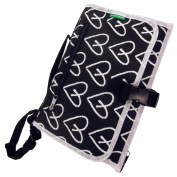 Nappy Changing Travel Kit - Little Loved Ones Best Detachable Organiser - Bonus Wipes Case - Portable, Waterproof, Foam Padded Station - Thin, Foldable, Black with White Hearts Clutch